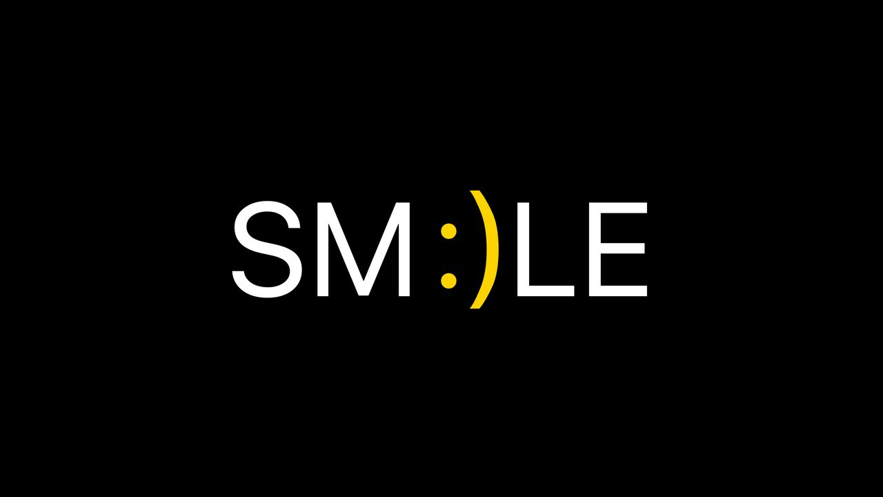 1280x720 Wallpaper smile, positive, word, cheerful