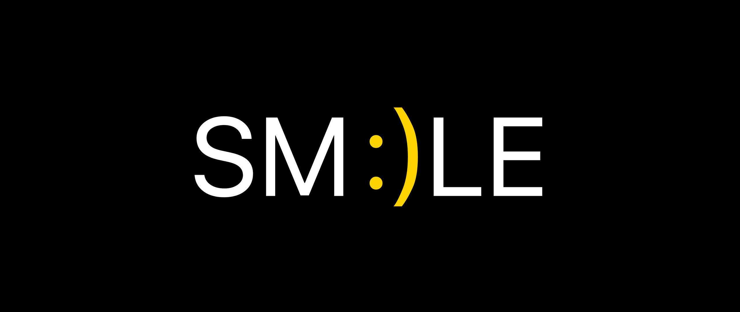 2560x1080 Wallpaper smile, positive, word, cheerful