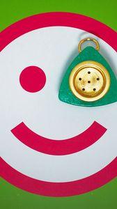 Preview wallpaper smile, red, button, eye