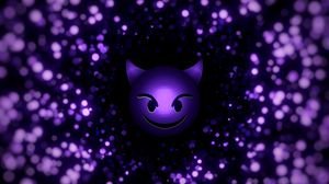Preview wallpaper smile, smiley, devil, particles, purple