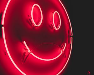 Preview wallpaper smile, smiley, neon, glow, red