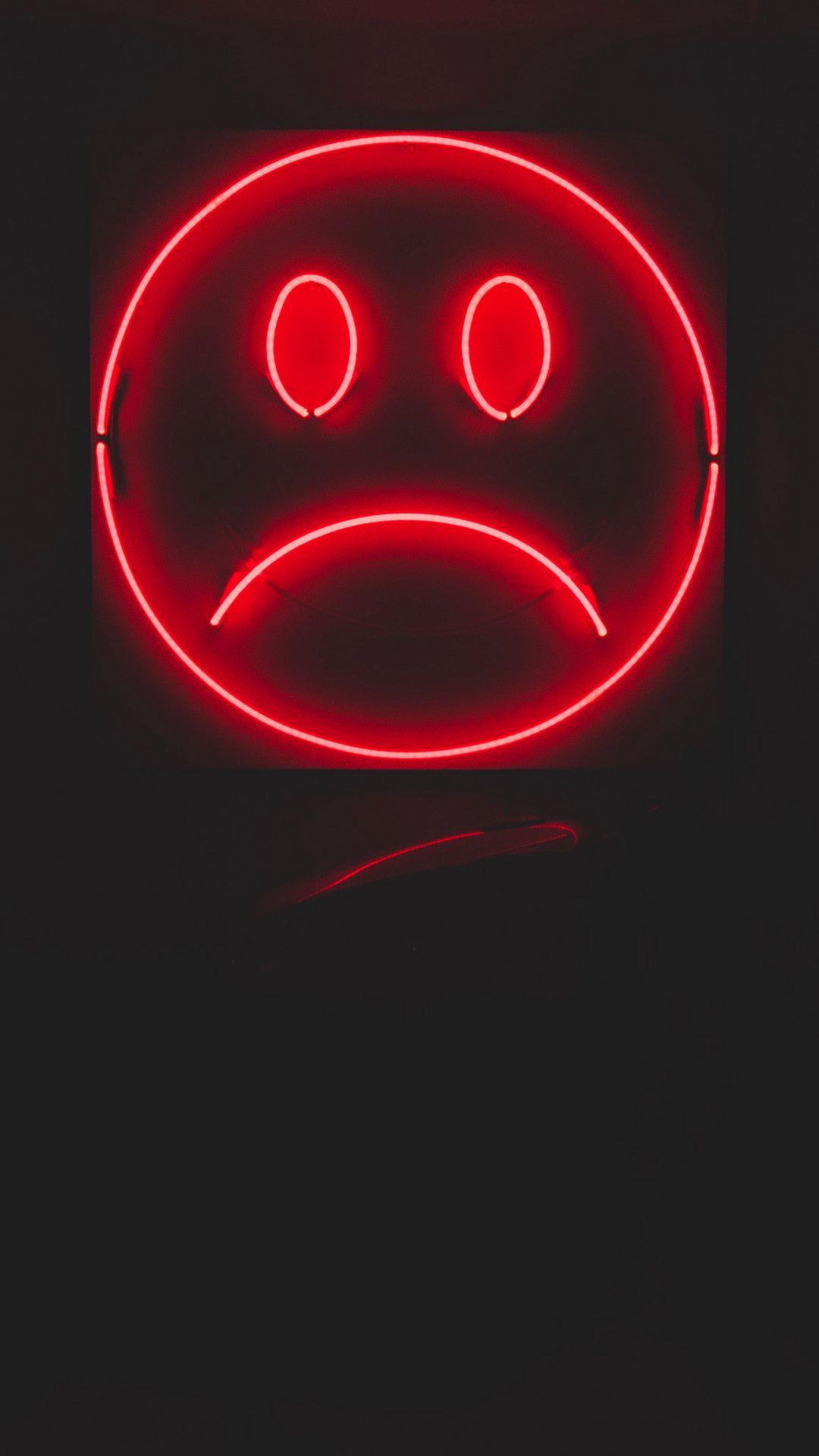 1080x1920 Wallpaper smile, smiley, sad, neon, red, dark