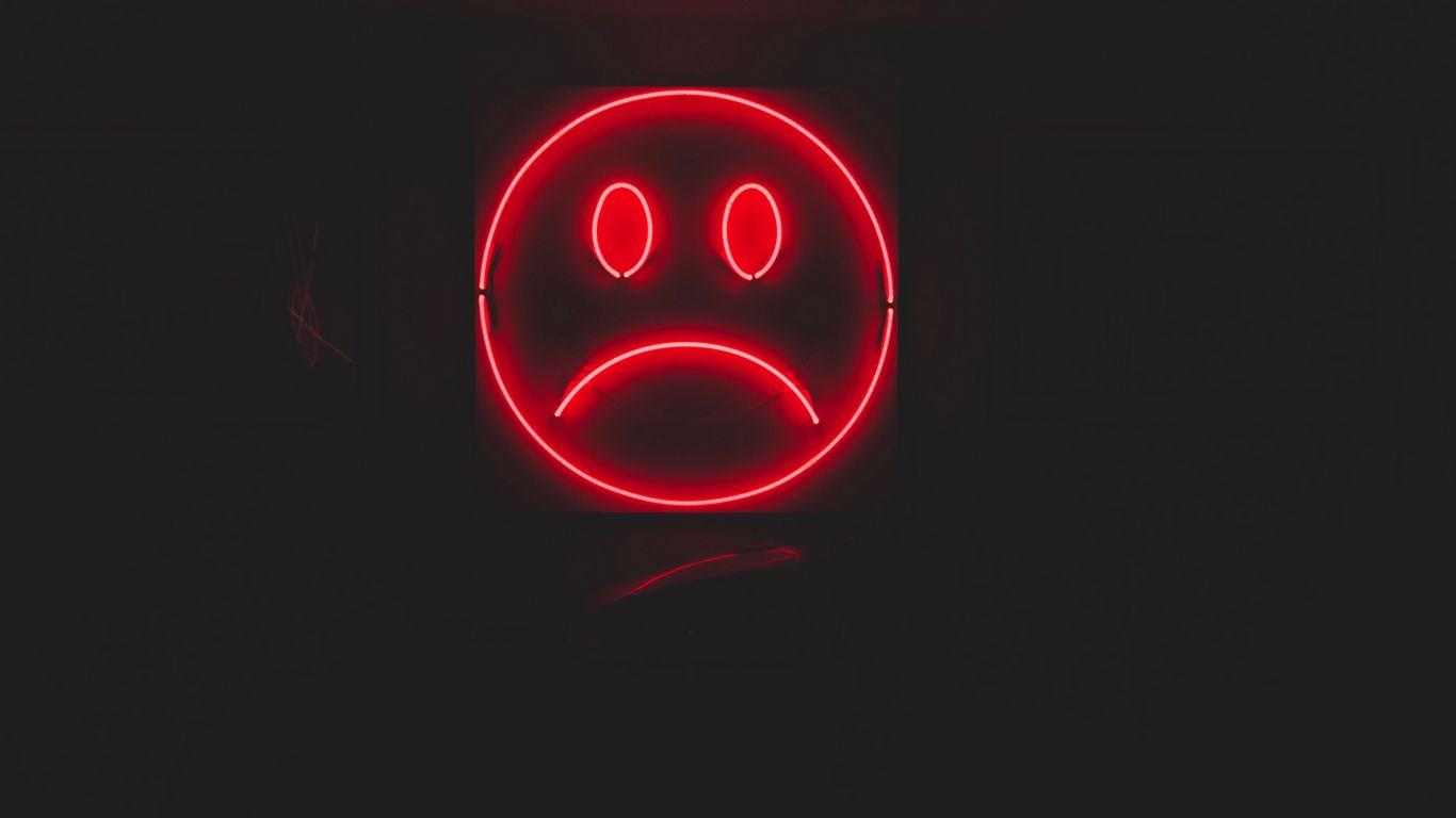 1366x768 Wallpaper smile, smiley, sad, neon, red, dark
