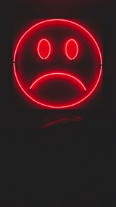Preview wallpaper smile, smiley, sad, neon, red, dark