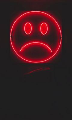 240x400 Wallpaper smile, smiley, sad, neon, red, dark