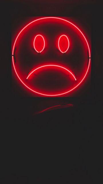 360x640 Wallpaper smile, smiley, sad, neon, red, dark