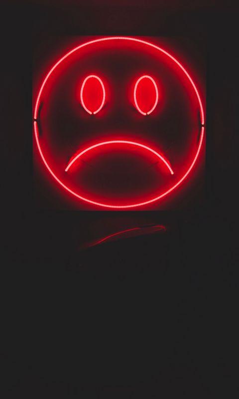 480x800 Wallpaper smile, smiley, sad, neon, red, dark