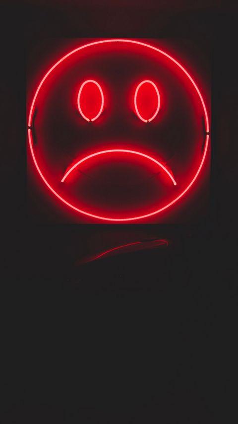 480x854 Wallpaper smile, smiley, sad, neon, red, dark