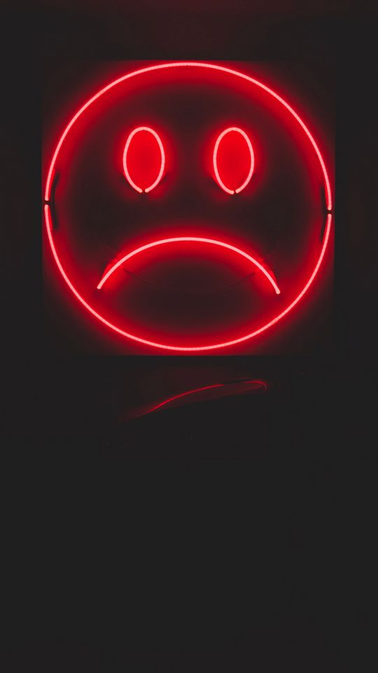 540x960 Wallpaper smile, smiley, sad, neon, red, dark