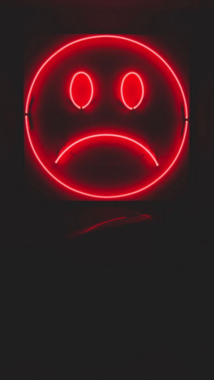 720x1280 Wallpaper smile, smiley, sad, neon, red, dark