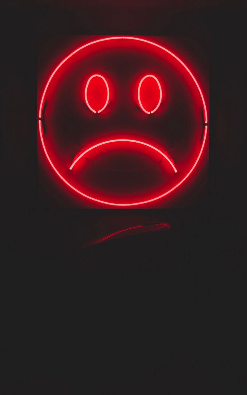 800x1280 Wallpaper smile, smiley, sad, neon, red, dark