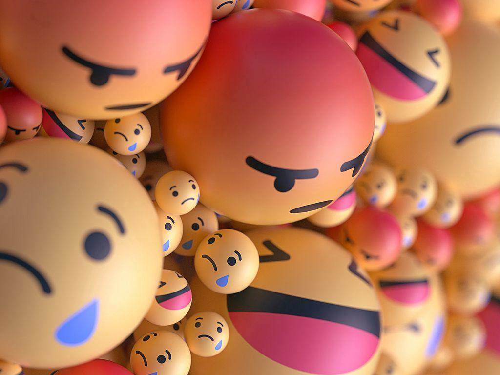 1024x768 Wallpaper smiles, emoticons, balls, 3d, emotions