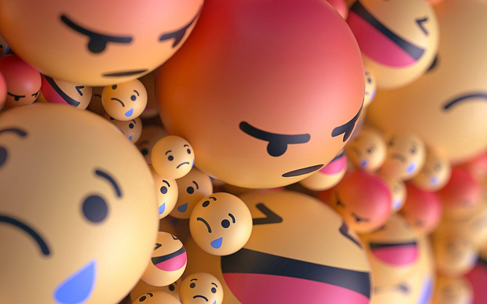 1680x1050 Wallpaper smiles, emoticons, balls, 3d, emotions