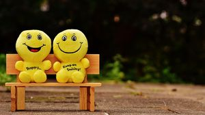 Preview wallpaper smiles, happy, cheerful, smile, bench, cute