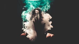 Preview wallpaper smoke, hand, face, dark