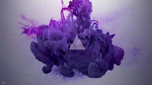 Preview wallpaper smoke, triangle, lilac