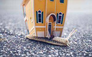 Preview wallpaper snail, house, photoshop