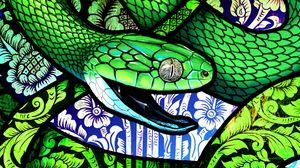 Preview wallpaper snake, scales, pattern, ornament, art