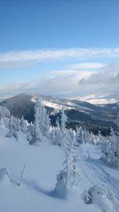 Preview wallpaper snow, carpathian mountains, the mountain stig, trees, ukraine, winter, svidovets, rahovsky area