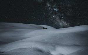 Preview wallpaper snow, drifts, stars, sky, night, winter