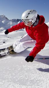 Preview wallpaper snow, mountains, blue skies, skiing, carving