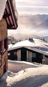 Preview wallpaper snow, mountains, winter, landscape