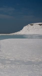 Preview wallpaper snow, ocean, river, coast