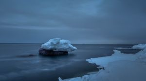 Preview wallpaper snow, sea, stone, ice, sky, cloudy