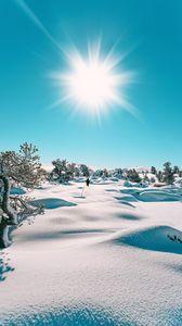 Preview wallpaper snow, sun, landscape, winter