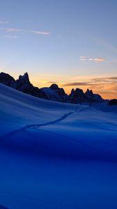 Preview wallpaper snow, trail, mountains, sky