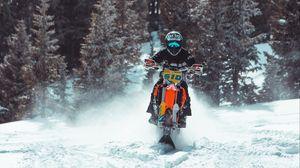 Preview wallpaper snowbike, bike, racer, snow, forest, winter