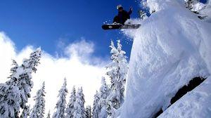 Preview wallpaper snowboarding, sport, snow, jump