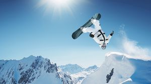Preview wallpaper snowboarding, trick, jump, mountain, extreme