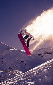 Preview wallpaper snowboarding, trick, jump, snow