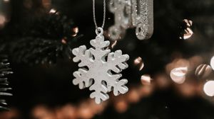 Preview wallpaper snowflake, christmas, new year, decoration, blur, tree toy