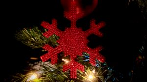 Preview wallpaper snowflake, decoration, garland, tree, new year, christmas