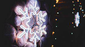 Preview wallpaper snowflake, neon, glow, light, decoration
