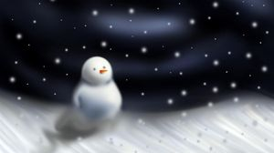 Preview wallpaper snowman, blizzard, snow, night