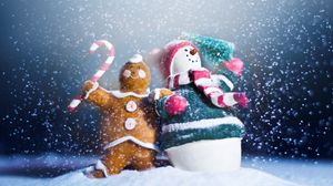 Preview wallpaper snowman, candy, cookies, holiday