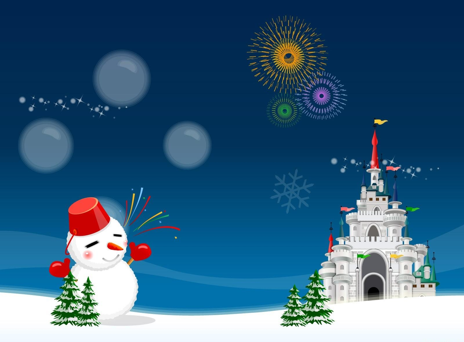 1600x1180 Wallpaper snowman, castle, fireworks, holiday, christmas trees, christmas