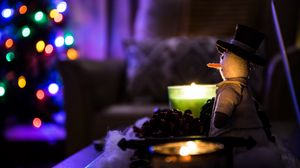 Preview wallpaper snowman, christmas, candles