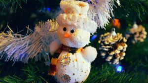 Preview wallpaper snowman, christmas decorations, branches