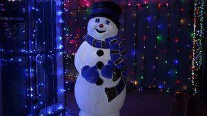 Preview wallpaper snowman, christmas, new year, garland, backlight