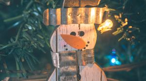 Preview wallpaper snowman, decoration, garland, tree, new year, christmas