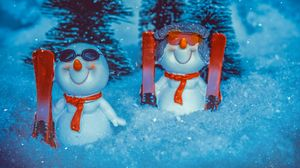 Preview wallpaper snowman, new year, christmas, snow, figurine, toy