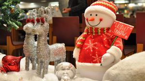 Preview wallpaper snowman, reindeer, gifts, new year