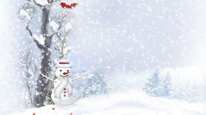 Preview wallpaper snowman, scarf, buttons, wood, berries, trees, snow