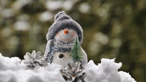 Preview wallpaper snowman, snow, figurine, toy, new year, christmas