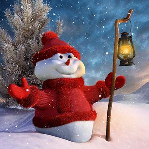Preview wallpaper snowman, staff, lantern, 3d graphics, winter, snow, mountains, tree