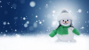 Preview wallpaper snowman, toy, new year, christmas, glare, bokeh
